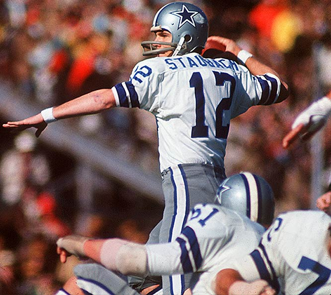 Dallas quarterback Roger Staubach watched the first three quarters from the sidelines, nursing a separated shoulder he'd suffered in Week 5. But after the Cowboys spotted the 49ers a 28-13 lead, coach Tom Landry inserted Staubach for the fourth quarter. From there, ''Captain Comeback'' led the `Boys on a furious rally to a 30-28 victory.