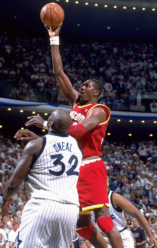 The defending champions spotted Shaq- and Penny-led Orlando a 20-point second-quarter lead, only to storm back behind Kenny Smith's five third-quarter three-pointers. The game went to overtime after the Magic's Nick Anderson missed four free throws in the final 11 seconds of regulation. Hakeem Olajuwon won it in the extra period with a last-second tip-in, and the 120-118 victory began what would be a Rockets four-game sweep.