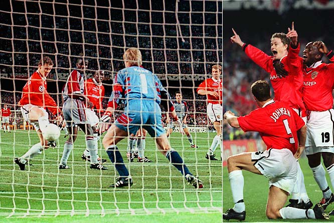 """As the clock reached the 90-minute mark in the Champions League, the German superclub clung to a 1-0 lead. But Teddy Sheringham and Ole Gunnar Solskjær scored for the Red Devils during injury time, completing a miraculous 2-1 victory and securing a rare """"treble"""" for the English champions (with the Premier League, FA Cup and Champions League titles)."""