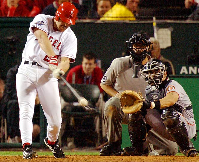 The Giants led 5-0 and were just eight outs away from their first world title since moving to San Francisco in 1958. But the Angels, spurred on by the Rally Monkey, began chipping away at the lead. First baseman Scott Spiezio launched a three-run homer in the seventh, and the team added three more in the eighth. Series MVP Troy Glaus knocked in the winning run on a double off Giants closer Robb Nen. The Angels won their first title the next day in Game 7.