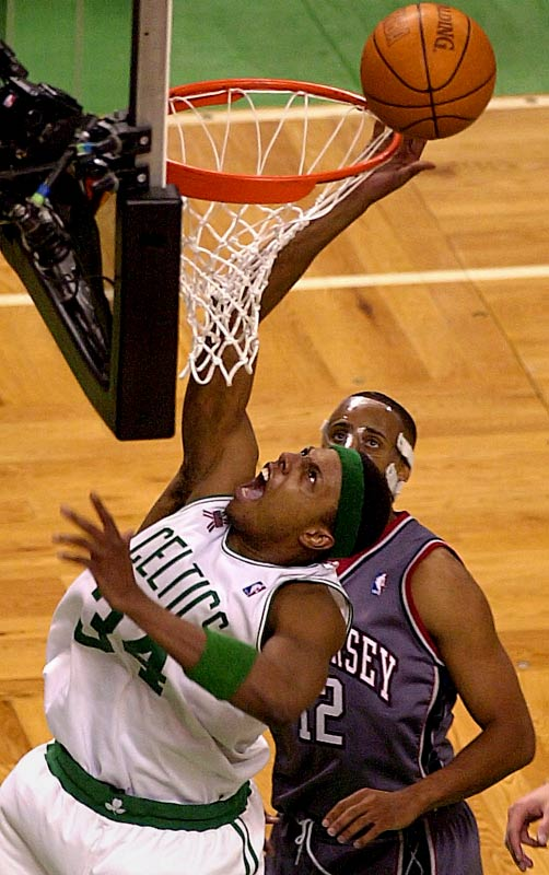 The Celtics pulled off the biggest fourth-quarter comeback in playoff history, overcoming a 21-point deficit to stun the Nets 94-90. Paul Pierce, who missed 12 of his first 14 shots, scored 19 of his 28 points in the final period, when Boston outscored New Jersey 41-16. The Nets recovered to win the series before losing to the Lakers in the NBA Finals.