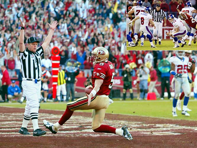 The Niners completed the second-biggest comeback in NFL playoff history, rallying from a 24-point hole to a 39-38 playoff victory. But the Giants were complicit in the proceedings; they botched the snap on a 41-yard field-goal attempt as time expired.