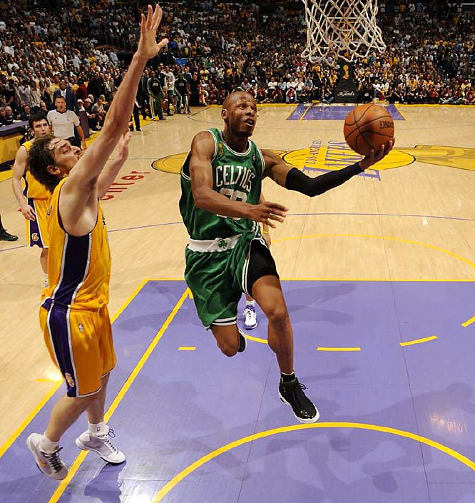 Boston trailed by 24 in the second quarter, 18 at halftime and 20 midway through the third. But the Celtics closed the third quarter with a 21-3 run and then received clutch plays down the stretch from both their role players (James Posey's crucial three-pointer with 1:13 left) and stars (Ray Allen's game-clinching layup with 16 seconds remaining) in a 97-91 victory -- the biggest recorded comeback in Finals history.