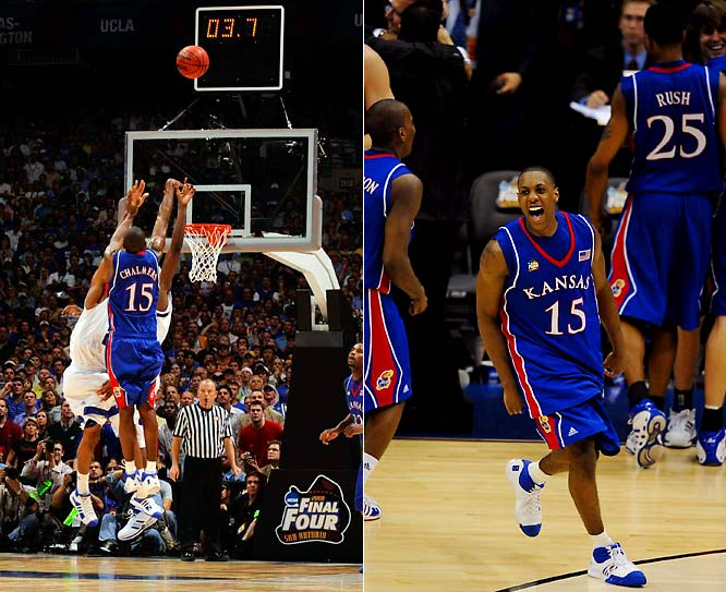 Down nine points with 2:12 left, Kansas took advantage of Memphis' missed free throws down the wire. Jayhawks guard Mario Chalmers hit a three-pointer in the final seconds to tie the game at 63. Kansas went on to win in overtime 75-68.