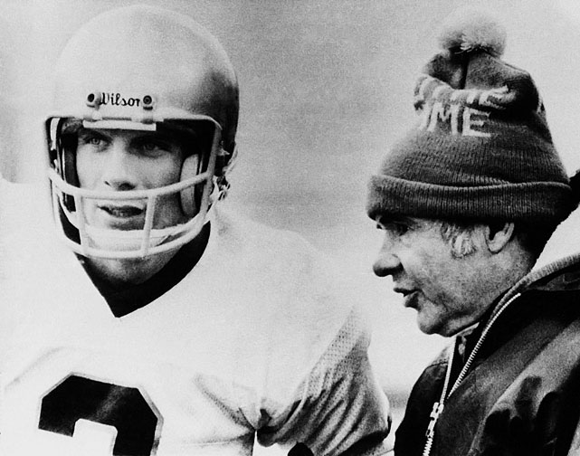 On an unusually cold day in Texas, Notre Dame trailed Houston by 12 midway through the fourth quarter. Irish quarterback Joe Montana (pictured with head coach Dan Devine) had been sitting in the locker room sick with the flu and suffering from hypothermia since halftime, but, down by six and only two ticks left on the clock, he threw a touchdown pass to Kris Haines in what became known as the ''Chicken Soup Game.''