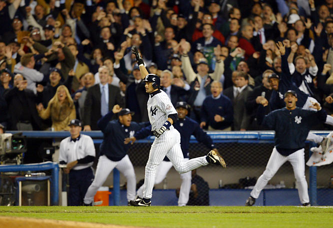 Boone failed to live up to the hype in the Bronx, hitting only .254. His playoff performance was, for the most part, abysmal -- he hit .200 vs. the Twins in the ALDS and .176 vs. the Red Sox, but one at-bat changed all that. Game 7, bottom of the 11th, facing knuckleballer Tim Wakefield, Boone hit a monstrous solo shot to left field to oust the Red Sox and keep the curse intact for another year. So the Yankees got a World Series trip while the Reds got minor leaguers Brandon Claussen and Charlie Manning.