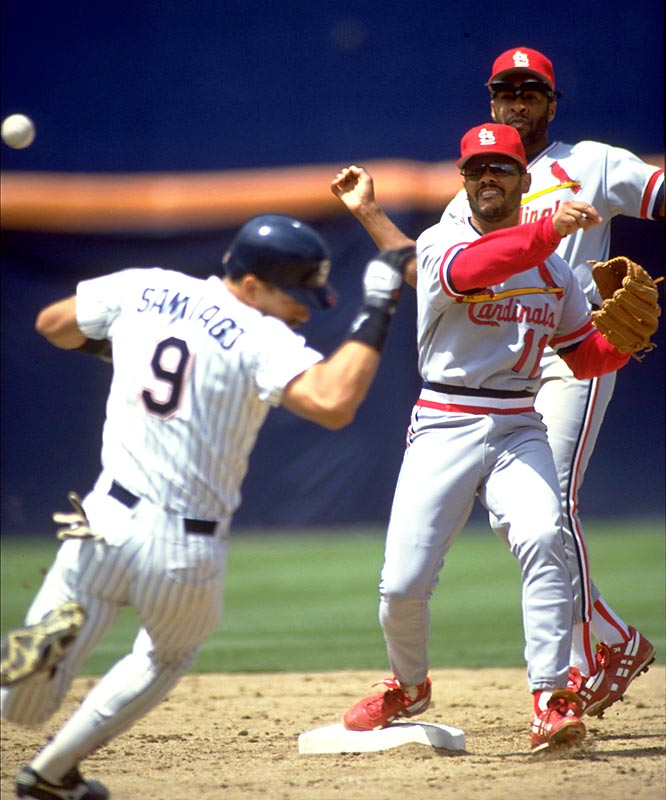 Spending all but his rookie year with the Cardinals, Oquendo played every position on the field. In 1988 he was the first position player to earn a pitching decision in 20 years (a loss).