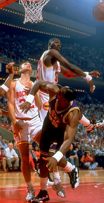 The 7-0 Olajuwon rattled playoff foes with his defense as much as he did with his Dream Shake.  He led the Rockets to back-to-back NBA titles in '94 and '95, and still holds the NBA playoff record for most blocks in a single game (10, tied with Mark Eaton). For his career, Olajuwon ranks second all-time in playoff blocks (to Kareem Abdul-Jabbar) and is in the top 25 in steals.