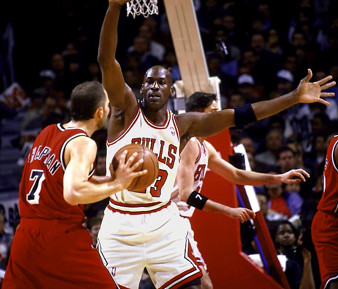 The all-time playoff leader in scoring average, Jordan was also one of the all-time defensive greats. The nine-time first-team All-Defense selection wreaked havoc on playoff foes with his intensity. His steal of Karl Malone late in Game 6 of the '98 Finals, which set up his game-winning jumper, is one of the most memorable plays in NBA history.