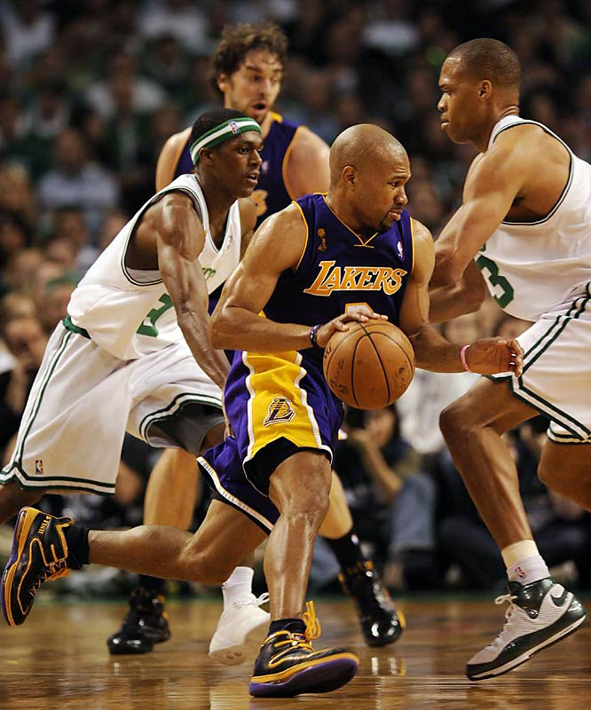 Derek Fisher, one of the few Lakers players with Finals experience, was solid in Game 1 with 15 points and six assists.