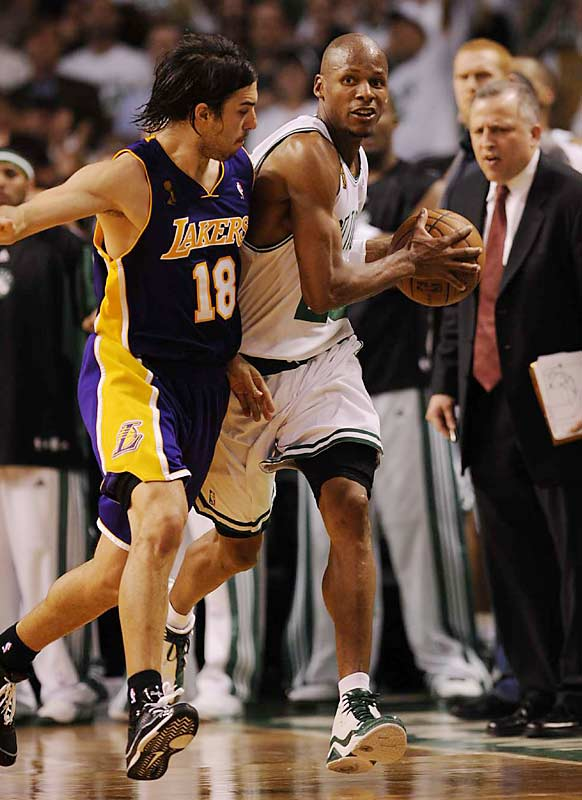 Ray Allen, shadowed by Lakers guard Sasha Vujacic, scored 19 points in the first NBA Finals game of his 12-year career.