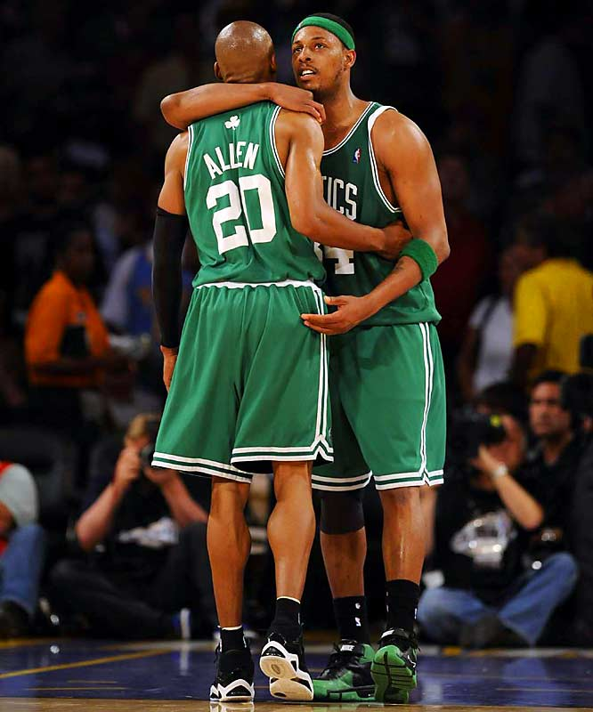 Ray Allen and Paul Pierce celebrate the Celtics' historic comeback victory in Game 4. Boston overcame a 24-point deficit to beat the Lakers 97-91 and move within one win of its first NBA championship since 1986.
