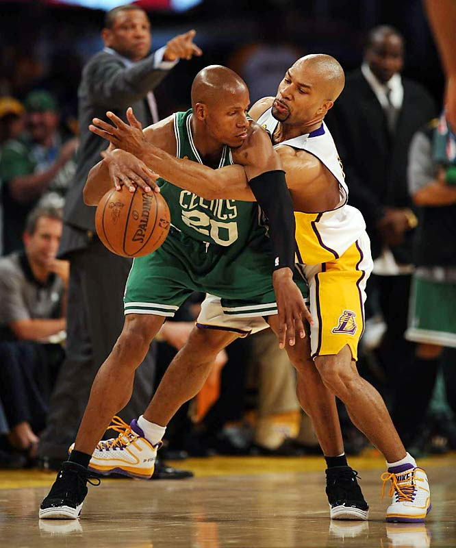 Derek Fisher helped keep Celtics sharpshooter Ray Allen in check. Allen, who had made 20-of-35 shots in the previous three games, connected on only 4-of-13 in Game 5.