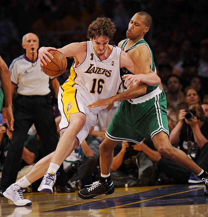 Criticized in the Finals for being too soft, Pau Gasol delivered a big game against P.J. Brown and the Celtics. Gasol's 19 points and 13 rebounds were series highs for the 7-foot Spaniard.