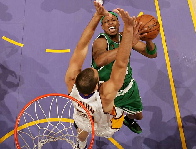 An aggressive Paul Pierce repeatedly attacked the interior of the Lakers' defense, earning himself 19 free-throw attempts.