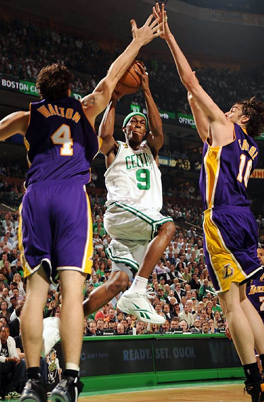After struggling mightily for much of the series, the Celtics' second-year point guard, Rajon Rondo, delivered a gem in Game 6. He finished with 21 points, eight assists, seven rebounds and six of the Celtics' Finals-record 18 steals. Lakers coach Phil Jackson called Rondo the star of the game.