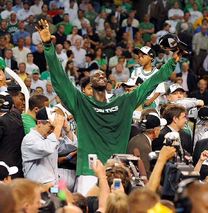 Kevin Garnett, a 13-year veteran, likened winning his first championship to knocking out the school bully.