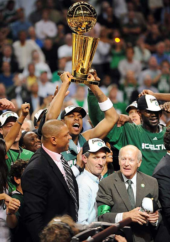 A year after being the leading scorer on a 24-win Celtics team, Paul Pierce was named Finals MVP after averaging 21.8 points and 6.3 assists against the Lakers.
