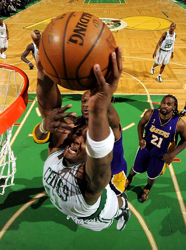 """Glen """"Big Baby"""" Davis got his first taste of the Finals in Game 6 as coach Doc Rivers went to the rookie forward after other big men landed in foul trouble. Davis was on the floor for a good part of the Celtics' big second-quarter surge."""