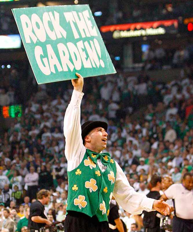 The Celtics' ubiquotous leprechaun mascot, Lucky, does his part to 'Rock The Garden' during a long TV timeout.