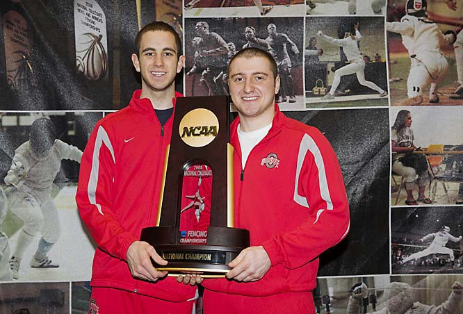 Junior Jason Pryor's (shown here with teammate Mikhail Momtselidze) 5-3 win in Epee against Notre Dame helped lead Ohio State to its third national fencing crown.