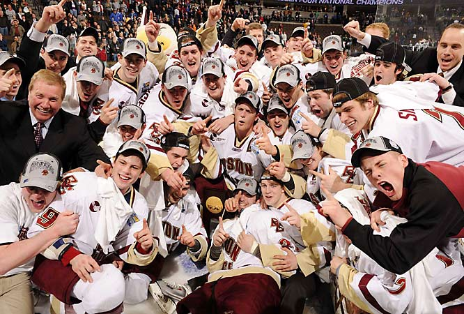 With two goals and two assists, Nathan Gerbe, the nation's leading scorer, led Boston College to a 4-1 victory over Notre Dame in the championship game.  Gerber had five goals and three assists in the Frozen Four.