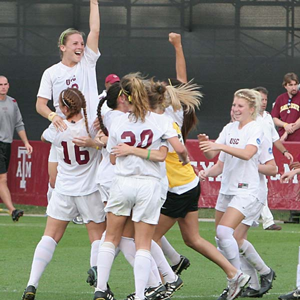 The second-seeded Trojans, led by national team member Amy Rodriguez, won their first national championship with a 2-0 win over Florida State.   Rodriguez had two second-half goals in the  semifinal and was named the tournament's Most Outstanding Offensive Player.