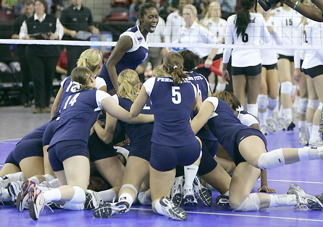 Stanford took the top-ranked Nittany Lions to five games in the title match, but Penn State won seven straight points in the deciding game to take the national title. During that critical run, junior Christa Harmotto and sophomore Alisha Glass each registered two kills. Sophomore Megan Hodge led the team with 26.