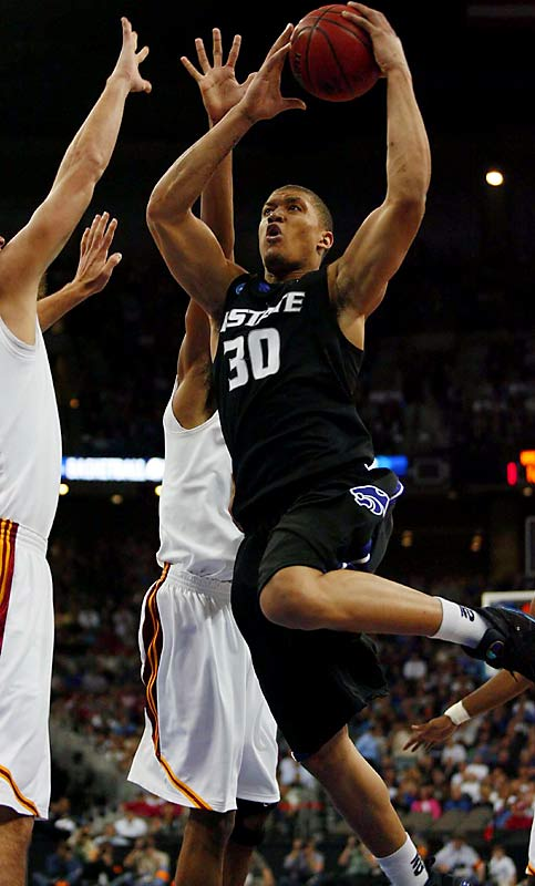The nation's leading rebounder and third-leading scorer, Beasley was a first-team All-America and Naismith Award finalist thanks to his 27.6 points and 12.4 rebounds per game. His Wildcats got the best of another freshman phenom, O.J. Mayo, when Beasley scored 23 points to lead K-State to a second-round tournament win over USC.