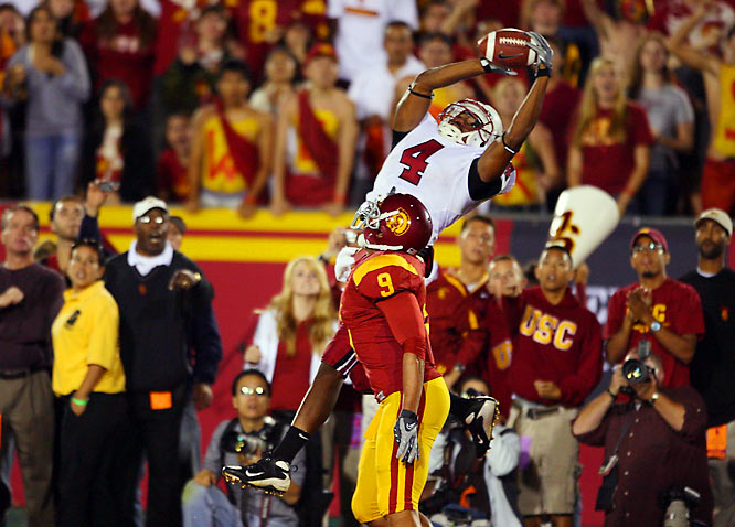 Stanford's Mark Bradford skies for the winning touchdown catch over Mozique McCurtis in the Cardinal's 24-23 upset of No. 2 USC.