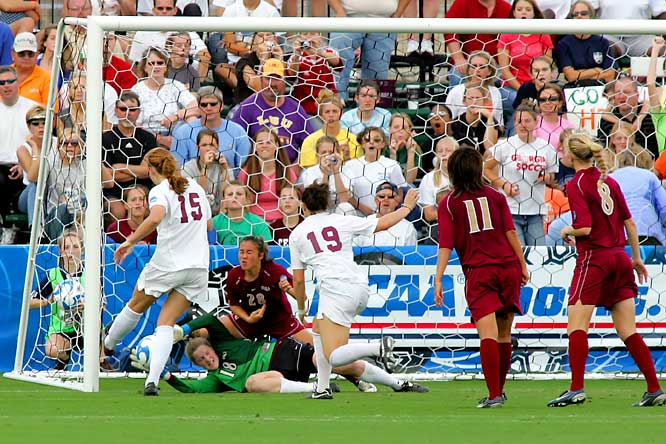 USC's Janessa Currier (15) picks up the loose ball and scores a goal against FSU goaltender Erin McNulty (18) after her teammate Rachel Lim (28) accidentally kicks the ball out of her hands.