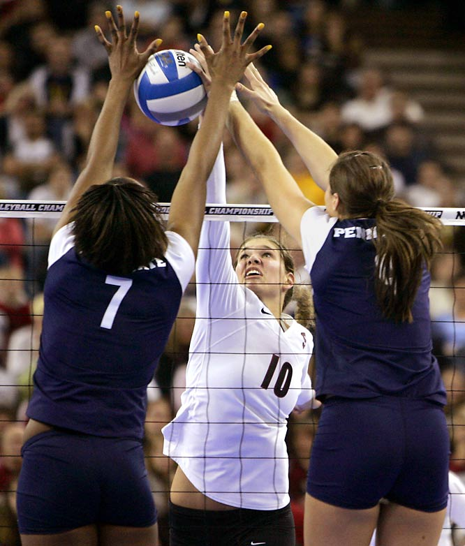 Penn State's Arielle Wilson and Blair Brown block a hit from Stanford's Alix Klineman on their way towards winning the NCAA title 3-2.