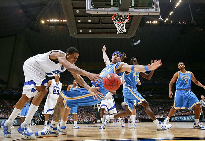 Memphis' Chris Douglas-Roberts goes after a loose ball after colliding with UCLA's Lorenzo Mata-Real during the Tigers' 78-63 Final Four win.