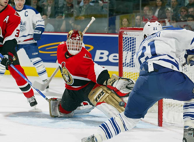 Hasek went 28-10-4 for the Senators before suffering a groin injury at the 2006  Winter Olympics that caused him to miss the rest of the NHL season, after which he returned yet again to Detroit as a free agent.