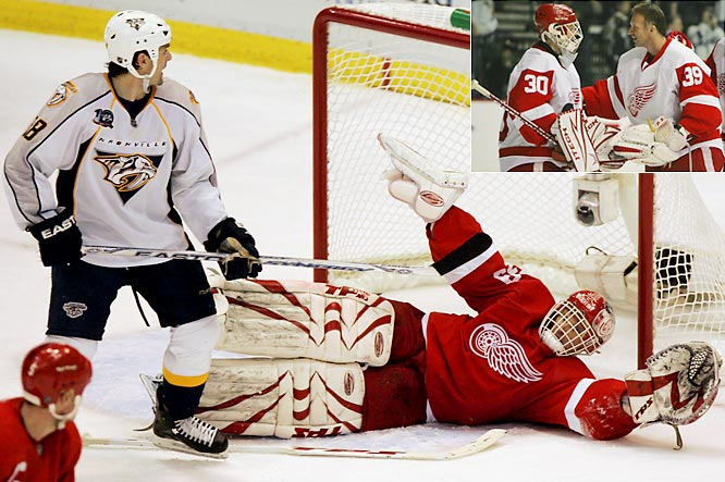 Hasek was 27-10-3 with a 2.14 GAA and .902 save percentage in what would be his final NHL season. Beginning the 2008 playoffs as Detroit's starting netminder, he beat the Nashville Predators in the first two games of the opening round, but faltered in his next two starts, giving up seven goals and losing his starting role to Chris Osgood. These games would be his final NHL appearances.