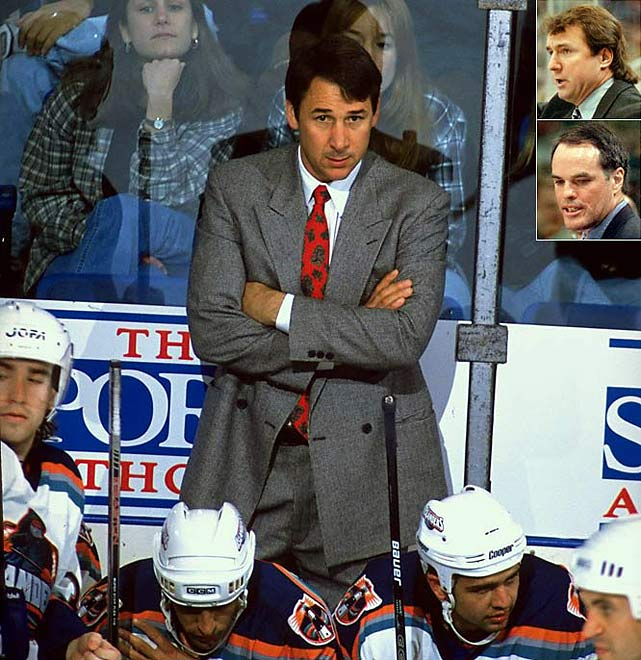 During his 12-year tenure with the Islanders, Milbury occasionally took over behind the bench. After a full season as coach (1995-96) failed to produce a playoff berth, he returned to the front office in mid-season of 1996-97 only to replace his replacement, Rick Bowness (top inset), in the middle of 1997-98 before giving way to Bill Stewart (bottom inset) in 1998-99. No playoff berths resulted.