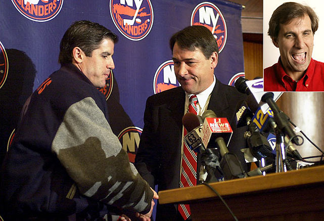 "After two successive playoff appearances, Milbury stunned the Islanders' faithful by canning coach Peter Laviolette in May 2003. Going on the Mike & The Mad Dog sports talk radio show, Milbury was hit by a pointed question from host Chris Russo (inset): ""How are you still the GM?!"""