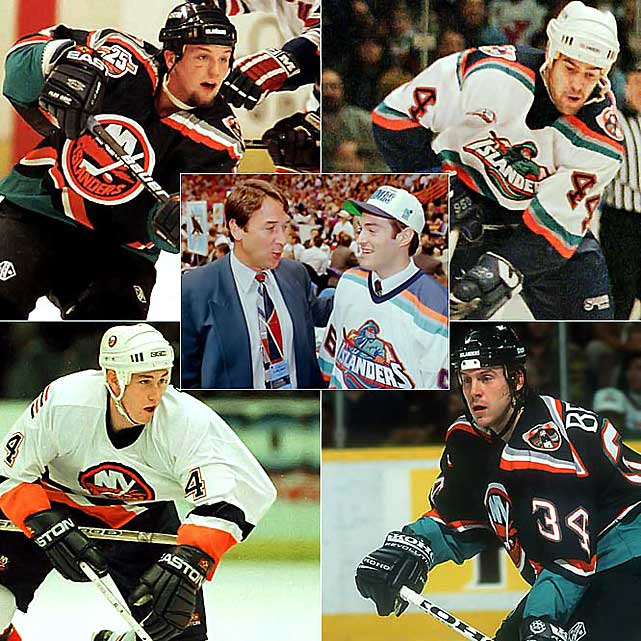 Among Milbury's other mad, impulsive and constant trades were (clockwise from left) Bryan McCabe (1998), Todd Bertuzzi (1998), J.P. Dumont (1998), Bryan Berard (1999) and Eric Brewer (2000).