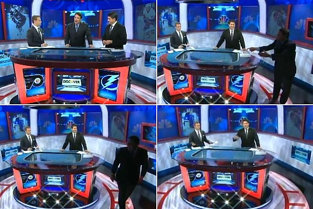 "During a Nov. 9, 2011 broadcast, Milbury stalks off the set after taking great exception to the Lightning's smothering 1-3-1 trap defense and the Flyers' attempts to draw them out of it by refusing to move the puck, which caused referee Chris Rooney to repeatedly blow his whistle and order face-offs. ""I'm sick and I'm leaving in protest! This was ugly!"" Milbury blusters. Indeed.    Click here to watch the incident."