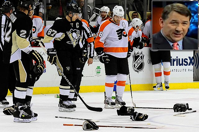 "A Flyers-Penguins line brawl on April Fools Day 2012 left Mad Mike in peak form. During an interview on a Philadelphia radio show, he accused Penguins coach Dan Bylsma of wearing a skirt and called Sidney Crosby a ""punk"" and ""Goody Two Shoes."" He also mocked Crosby's ""35th concussion."" Milbury later apologized, saying, ""I reached out to (Pittsburgh president) David Morehouse and the Penguins about the comments I made yesterday on Philadelphia radio. In hindsight, I realize what I said was inappropriate and wrong, and I want to apologize to the Penguins organization and their fans."" He did not apologize to Crosby or Bylsma, though."
