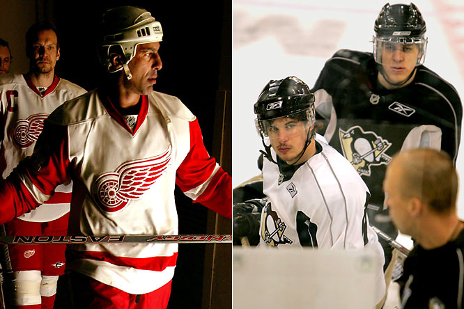 The first ever postseason meeting between Detroit and Pittsburgh, and first game since Oct. 2006, pitted the veteran-laden Red Wings of (left to right) Nicklas Lidstrom and Chris Chelios against the young, impressively talented Penguins of Sidney Crosby and Evgeni Malkin.