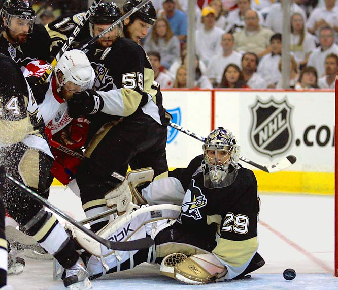 Down 2-1 in the third period, the Penguins were done in when goaltender Marc-Andre Fleury, who had been so brilliant while making 55 saves in the Game 5 marathon, lost track of the puck and inadvertently knocked it into his own net. The eventual game-winner was credited to Henrik Zetterberg.