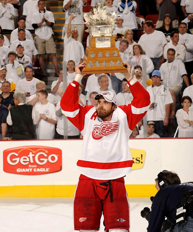 Winger Henrik Zetterberg was awarded the Conn Smythe Trophy as playoff MVP after setting a franchise record of 27 postseason points and playing an often sterling defensive game. Zetterberg, the second European player to win the award, may best be remembered for tying up Sidney Crosby's stick by the net and preserving Detroit's 2-1 lead late in Game 4.