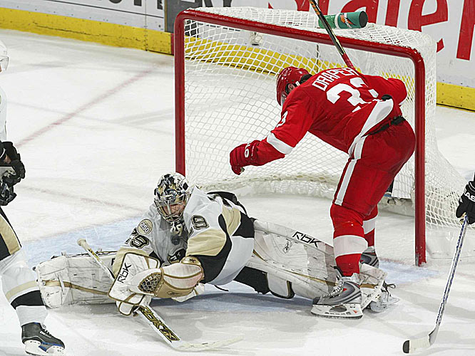 Penguins netminder Marc-Andre Fleury was often brilliant while making 55 saves, including 24 in the three OT periods.