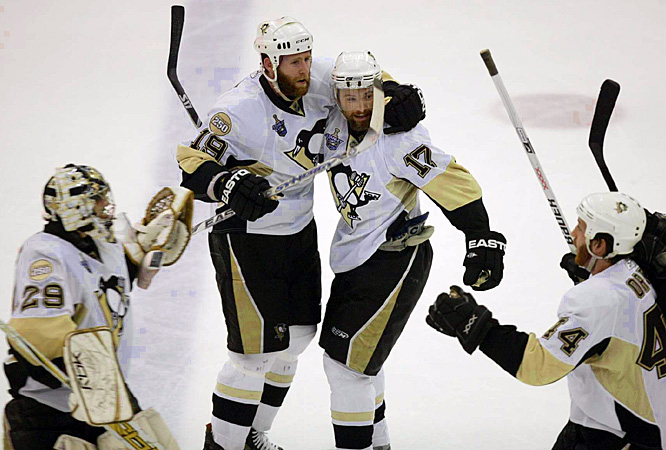After brashly predicting to NBC reporter Pierre McGuire that he would score the decisive goal, Penguins winger Petr Sykora made good by connecting on a power play 9:57 into the third overtime and sending the series back to Pittsburgh for Game 6 on Wednesday.