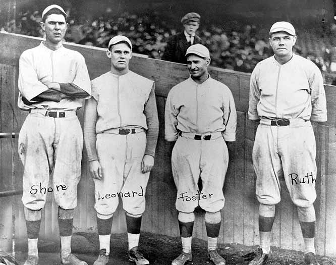 """Babe Ruth started the first game of a doubleheader against the Washington Senators but was ejected for arguing with home-plate umpire Brick Owens after walking leadoff hitter Ray Morgan on four pitches. Ernie Shore entered in relief, working on only two days' rest after his last start. After Morgan was caught stealing, Shore retired the next 26 hitters for a """"perfect game in relief,"""" which history records as a joint no-hitter."""