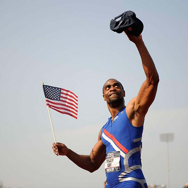 Tyson Gay won a spot on the Olympic squad with a blistering 100 meter run that clocked in at 9.68 seconds.  It was the fastest 100 meters run in history, but will not be counted as a world record because the tailwind exceeded the legal limit.