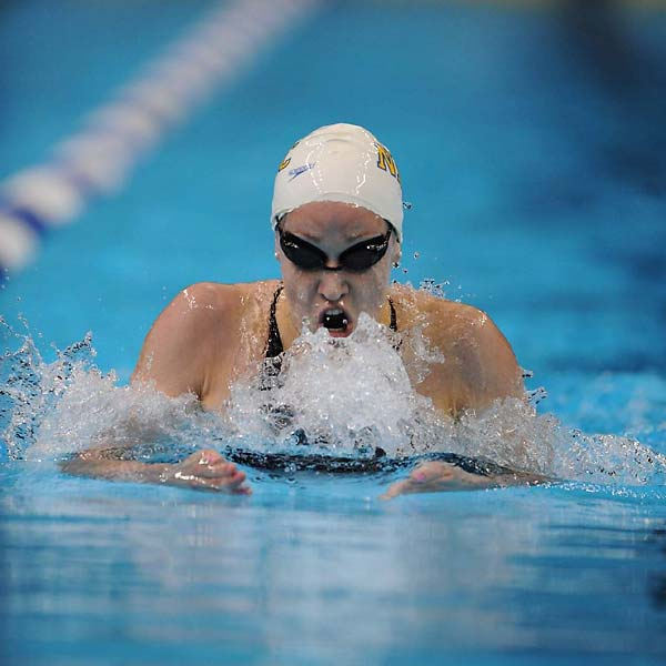 Katie Hoff finished the 400 IM in 4:31.12, breaking a world mark of 4:31.46 set March 22 by Australia's Stephanie Rice.