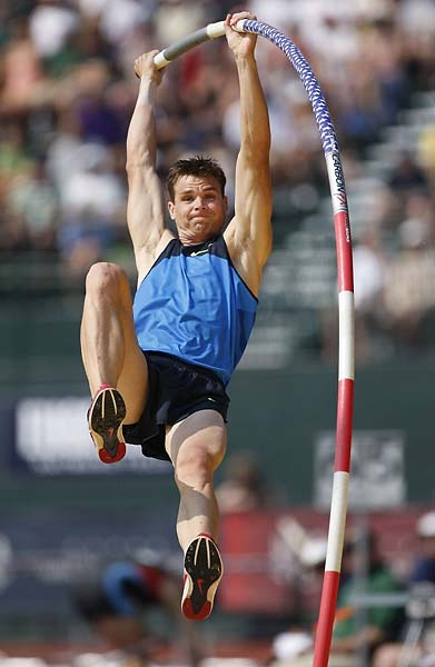 Derek Miles won the Olympic trials with a jump of 19 feet, one-quarter inches Sunday. He'll be joined by Jeff Hartwig, the 40-year-old former recordholder, and Brad Walker.
