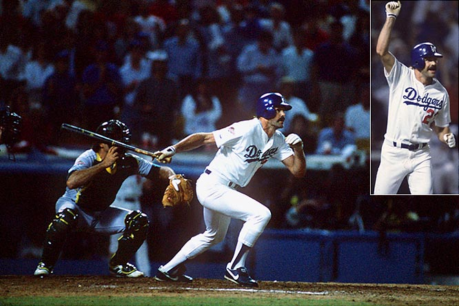 Not expected to play after severely injuring both legs in the NLCS, the NL MVP made good on his one at-bat in the 1988 World Series. With the Dodgers trailing 4-3 in Game 1 with a runner on and two outs, Gibson launched Dennis Eckersley's 3-2 pitch out to right field, winning the game with a bottom-of-the-ninth, walk-off home run at Dodger Stadium.